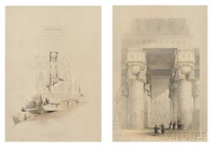David Roberts Scottish 17961864 Louis Haghe lithographer British 18061885 Two Egyptian Archeological Views Entrance to The G