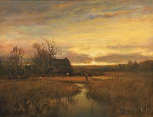 Paul R Koehler American 18661909 Herding the Flock at Sunset