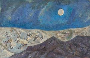 American School 20th Century Modernist Landscape with Moon