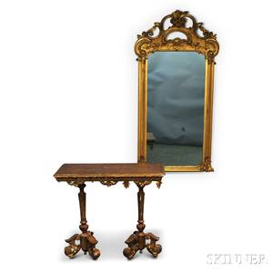 Rococostyle Giltgesso Pier Mirror and a Neoclassicalstyle Giltgesso Console
