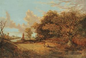 Continental School 19th Century Figures in a Dutch Landscape