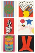 Six Images from Banner Multiples Calendar for 1969 After Various Artists Jim Dine American b 1935 Two Red Boots on a Black Groun