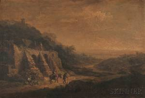 Attributed to Christian Georg Schz the Younger German 17581823 Travelers in a Landscape