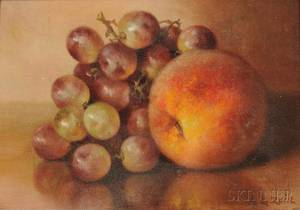 Abbie Zuill American 18561921 Still Life with Peach and Grapes