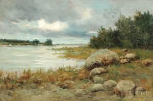 Burr H Nicholls American 18481915 Coastal Landscape with Storm Clouds
