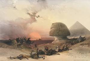 David Roberts Scottish 17961864 Louis Haghe lithographer British 18061885 Approach of the Simoon  Desert of Gizeh