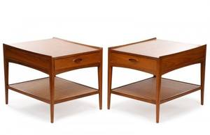 Pair of Heritage MCM Walnut Nightstands
