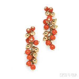 18kt Gold Coral Bead and Diamond Earpendants