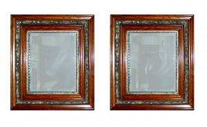1170 Pair of Antique OakFramed Beveled Glass Mirrors