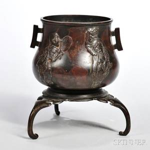 Twoeared Bronze Censer and Tripod Stand