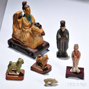 Five Pottery Figures and a Roof Tile
