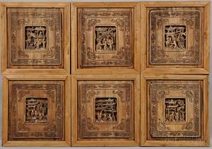 Six Carved Wood Architectural Panels