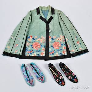 Two Pairs of Embroidered Silk Shoes and a Westernstyle Jacket