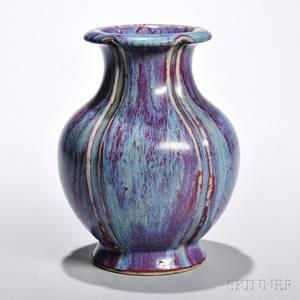 Mottled Flambeglazed Floral Vase