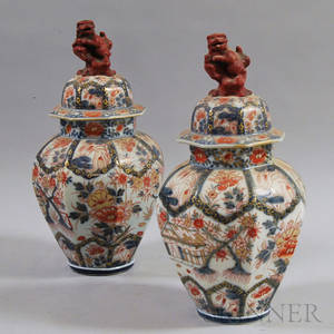 Pair of Japanese Imari Porcelain Covered Jars
