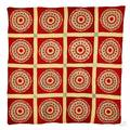 Mariners Compass Variant Yellow and Red Patchwork Quilt