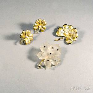 14kt Gold and Pearl Brooch and Earclips and a 14kt Gold Rock Crystal and Gemset Brooch