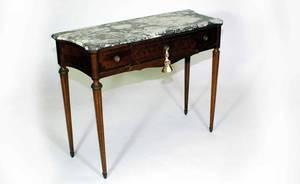318 Shaped Marble Top ThreeDrawer MahoganyFrame