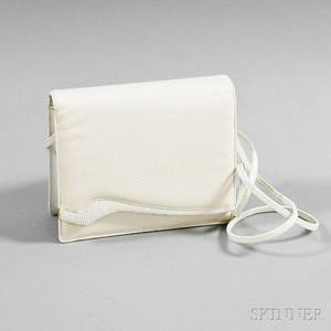 Judith Leiber White Leather Evening Bag