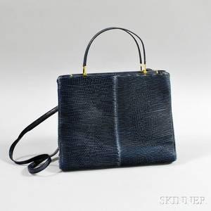 Judith Leiber Navy Textured Snakeskin Handbag