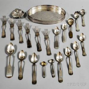 Group of Sterling Silver and Coin Silver Flatware and a Silverplated Tray