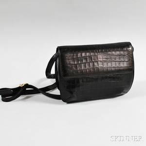 Salvatore Ferragamo Black Embossed Leather Handbag
