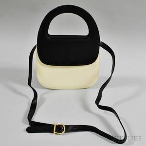 Salvatore Ferragamo Black and Cream Handbag