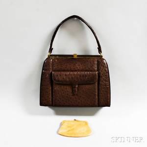 Lucille de Paris Vintage Brown Ostrich Handbag
