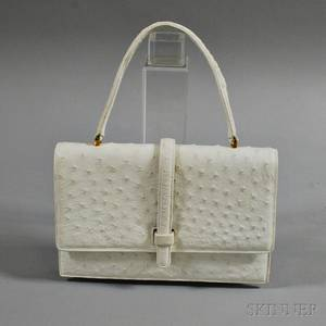 Lucille de Paris Vintage White Ostrich Leather Handbag