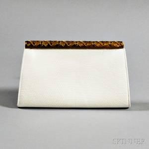 Lucille de Paris Vintage White Snakeskin Clutch