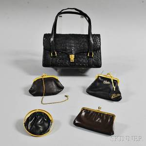 Lucille de Paris Vintage Black Alligator Handbag