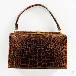 Lucille de Paris Vintage Brown Alligator Handbag