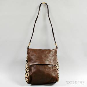 Carlos Falchi Brown Leather and Leopard Calfskin Shoulder Bag