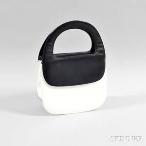 Salvatore Ferragamo Black and White Leather Handbag