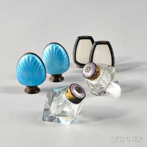 Three Pairs of Sterling Silver Enameled Salt Shakers