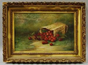 EM Kelley American 19th Century Still Life with Bag of Cherries