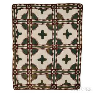 Brown and Green New York Beauty Variant Patchwork Quilt