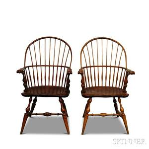 Two Wallace Nutting Carved Sackback Windsor Chairs