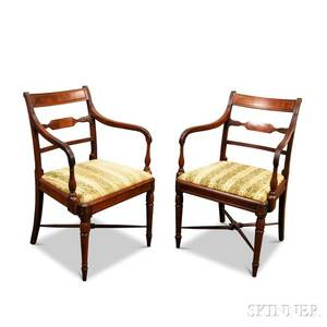Pair of Neoclassical Carved Mahogany Armchairs