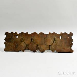 Carved Wood and Iron Sixhook Utensil Rack