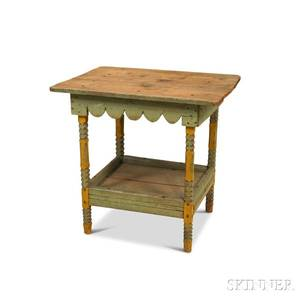 Primitive Blue and Yellowpainted Side Table