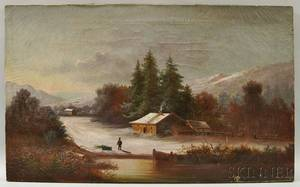 American School 19th Century Winter Landscape with Cabin