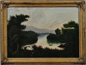 American School 19th Century Expansive River Landscape