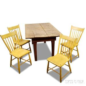 Country Table and a Set of Four Painted Windsor Chairs