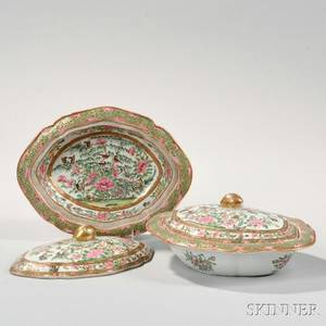 Two Rose Canton Export Porcelain Covered Vegetable Dishes