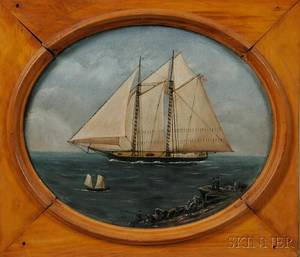 American School Late 19th Century Portrait of a Yacht