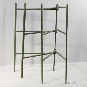 Greenpainted Fourfold Quilt Rack