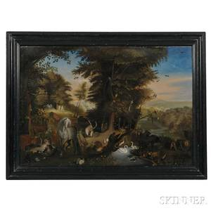 American School Possibly Western Massachusetts Early 19th Century Adam and Eve in the Garden of Eden an Overmantel Panel