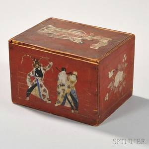 Redpainted Slidelid Box with Chinoiserie Design