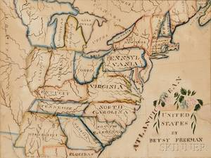 Watercolor Pen and Ink on Paper Schoolgirl Map of the Eastern United States